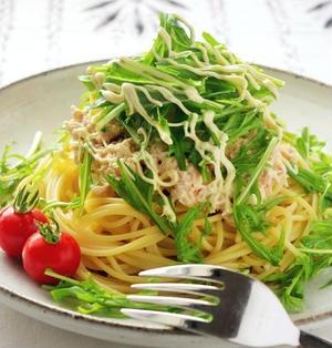 めんつゆで作る!水菜のツナおろしスパゲティ