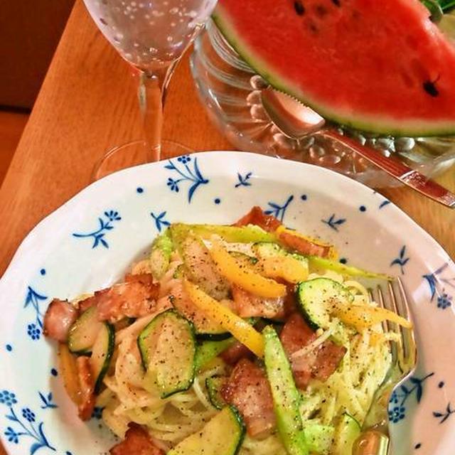 夏野菜のスパゲッティ・カルボナーラ ~ 具を入れて栄養もいっぱい♪