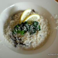 【乾物でイタリアン】干しシイタケとホウレン草のクリームレモンリゾット