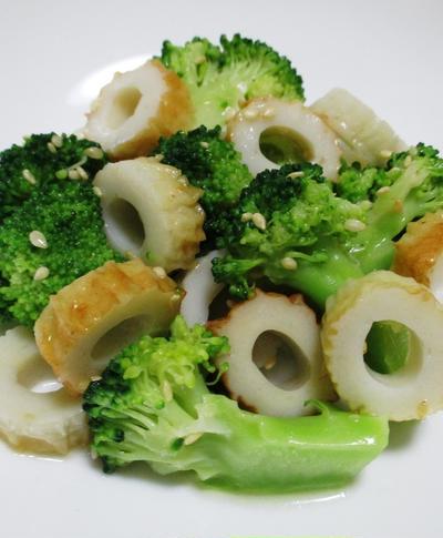 ブロッコリーと竹輪のナムル<鶏がらスープで味付け>