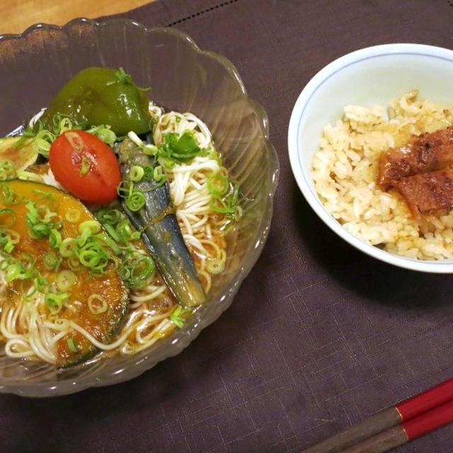 夏野菜の焼き浸しそうめんの晩ご飯 と 「桃モッツアレラ」♪