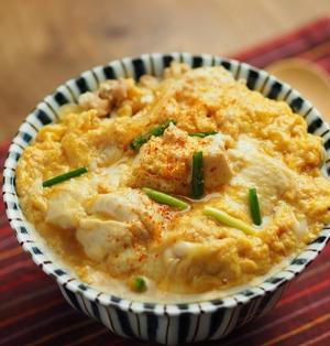 豆腐の卵とじ丼、豆腐でかさ増し、ご飯少なめでも大盛り!作り方動画