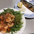 エビチリレタスと塩鯖。大コチの水炊き