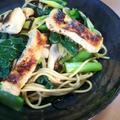 お箸で食べる♬小松菜と油揚げの和風パスタ