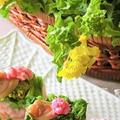 お花見レシピ ♪ 煮はまぐり、菜の花、桜のお寿司
