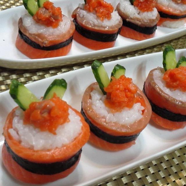 【レシピ】華やか★おもてなしにも 【サーモンロール寿司】(^^♪