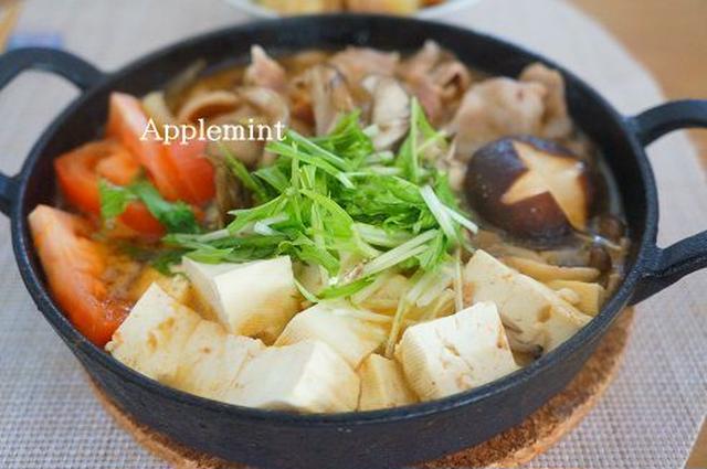 豚バラ肉とトマトのすき焼き
