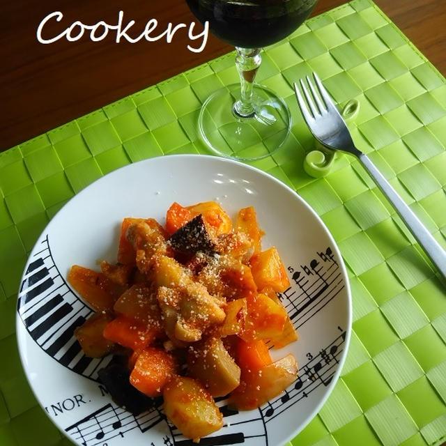 鶏肉&根菜のトマト炒め