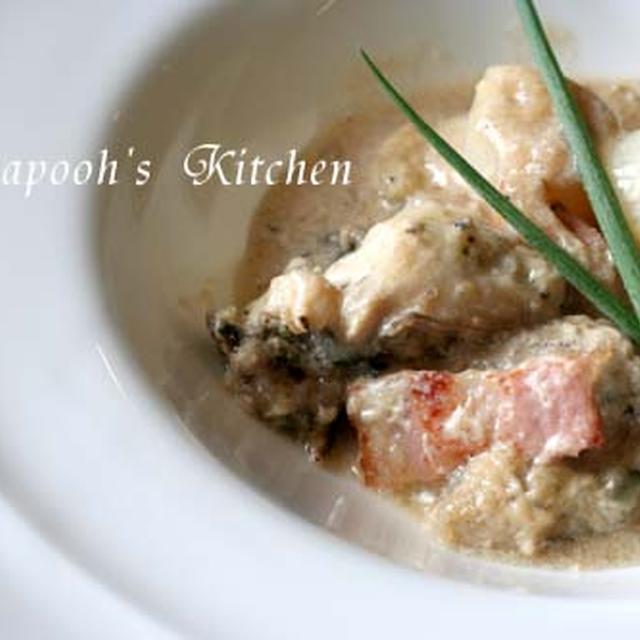 *牡蠣と白葱のクリーム煮*チキンの豆煮込み・グリンピースとソーセージのソース*
