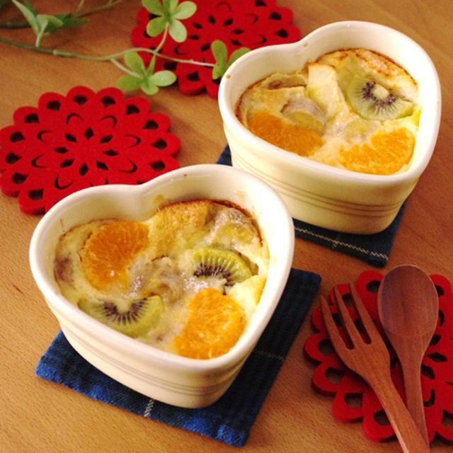 ホットケーキミックス(HM)でつくる、フレッシュフルーツの簡単クラフティ☆クリスマスのあったかスイーツ(毎日のおやつ、朝食、パーティにも♪)