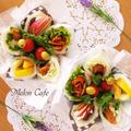 彩り華やか、味はさわやか、レシピつき!フラワー風サンドシナイッチ☆簡単&時短サンドしないサンドイッチ♪