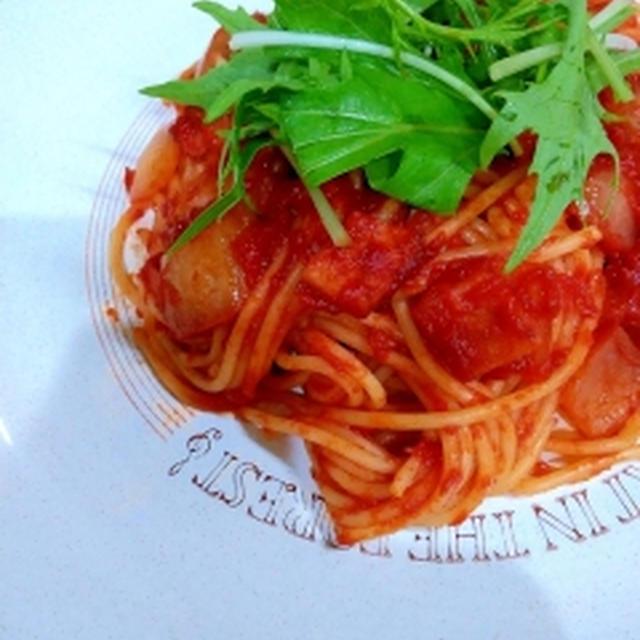 ハムと玉ねぎのトマトパスタ