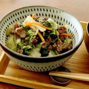牛肉と白菜のしょうが煮丼