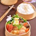 鱈の味噌バター焼きとエビのすり身のしのだ巻きのお弁当。