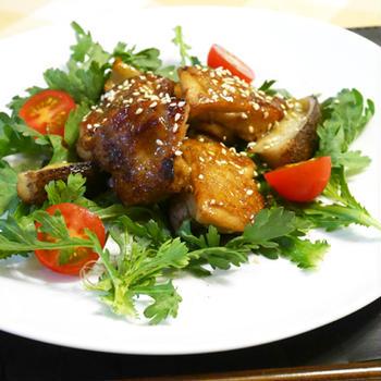 牡蠣だし醤油で鶏とレンコンの照り焼き風