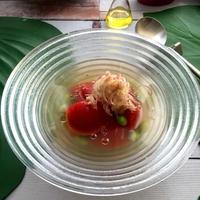 夏野菜をおいしく~冷たいトマトのだし汁スープ