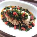 レンチン蒸し鶏に、トマトニラ塩昆布ポン酢がけ