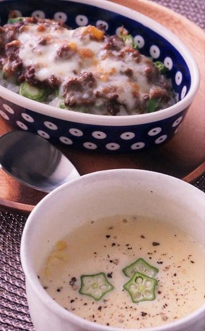 焼きカレーと豆乳コーンスープ