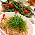 鮭と牛蒡の炊き込みごはん❤カルビとししとうの塩炒め❤