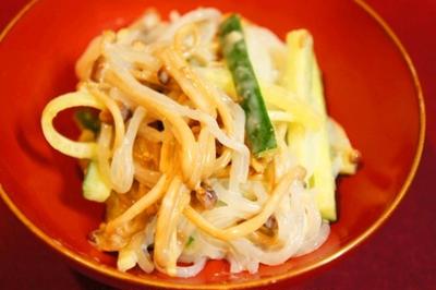 食べすぎた翌日はリセットご飯、豆腐塩麹クリームでしらたきとエノキの白和え、ヤングコーンソテー