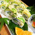 ■おもてなし用・爽やか夏ロールレシピ(2)【今回は アボガドロールの中身が ビンチョウ炙りと胡瓜の酢飯です♪】