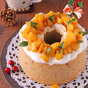 りんごのキャラメリゼシフォンケーキ☆ラフな簡単デコでクリスマスケーキ