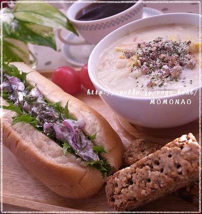 わさびクリームで秋刀魚サンドイッチ&薩摩芋クッキー♪白菜スープ&ブランチプレート