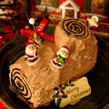 ダブルチョコレートパウンドで簡単ブッシュドノエル☆クリスマスケーキ