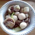 里芋と牛肉のネギ塩炒め