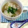 「大絶賛のワンタンスープ」具は餃子の皮とネギだけでOK!