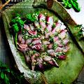 もう一品♪レモン風味のバジル&ガーリック米油でイナダ刺身のカルパッチョ風