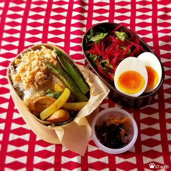 今日のMy弁当「フランクフルトと野菜のカレー炒め」