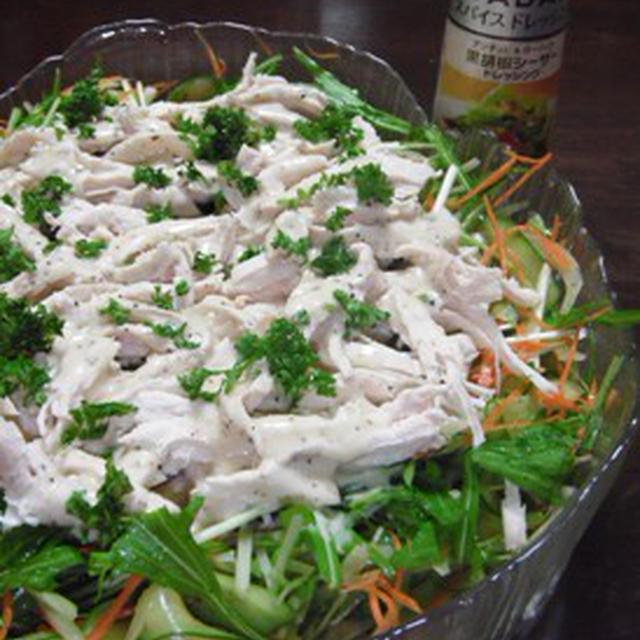 鶏胸肉と水菜のサラダ
