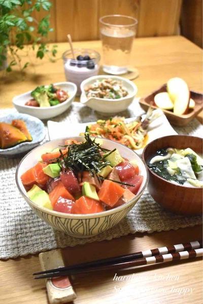 【レシピ】マグロとサーモンとアボカド漬け丼✳︎子供好き✳︎がっつり飯