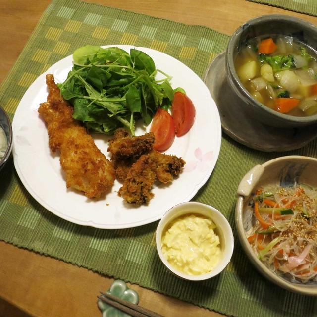 カキ&鱈フライの晩ご飯 と 我が家の紅葉♪