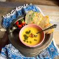 ピスタチオ入りかぼちゃとクラムチャウダーのスープ  簡単・美味しく美活・朝ポタ ♪