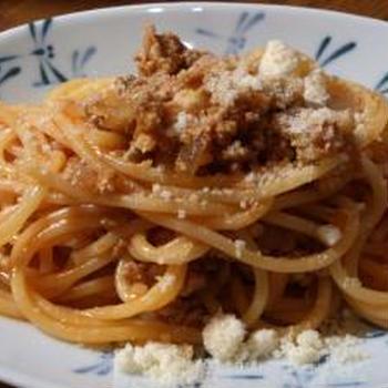野菜ジュースを使ったミートスパゲティ