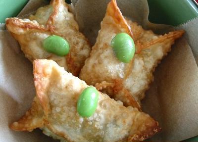 簡単スナック 枝豆とリゾットのカリッカリ☆サモサ
