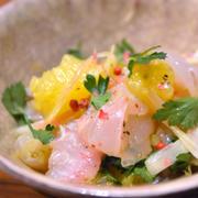 #475 白身魚と黄金柑とみょうがのセビーチェ