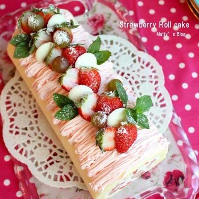 スポンジふわふわ苺のロールケーキ