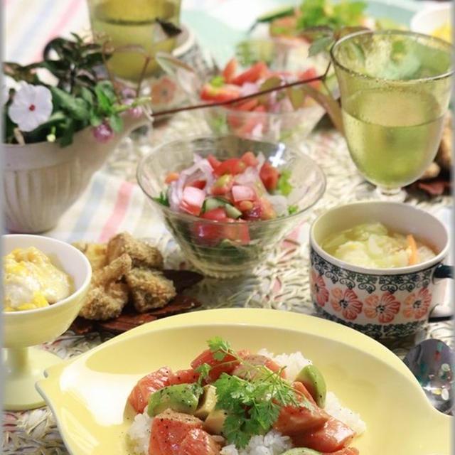 【レシピ】アボカドとサーモンのマスタード醤油丼。と 献立。お誕生日祝い。