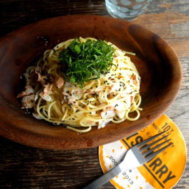【簡単!!カフェパスタ】ツナと新玉ねぎのわさびマヨしょうゆスパゲッティ