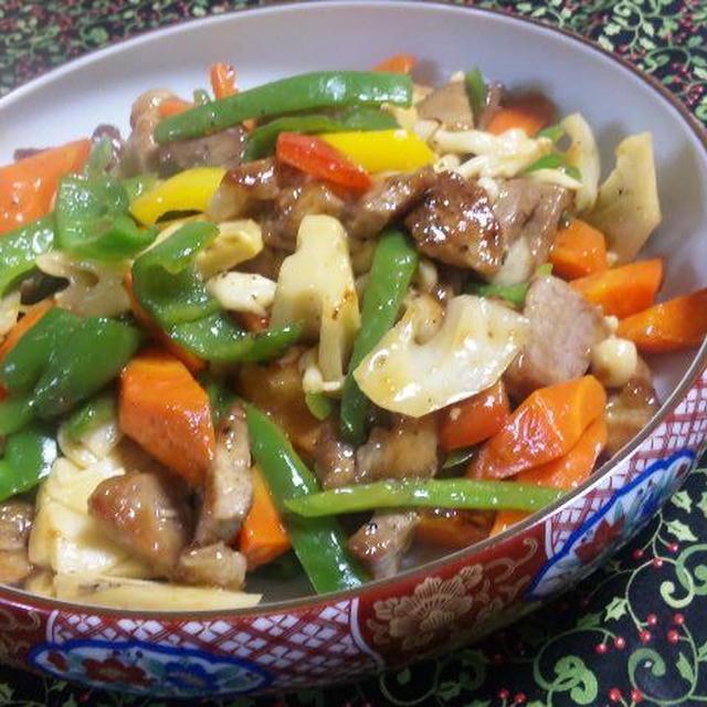 *少ない油で作る<根菜酢豚>GABANカラフルぺーパー入り (キッチン ラボ)