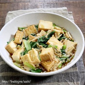 小松菜とえのきと厚揚げのとろみ炒め♡【#簡単レシピ#おかず】