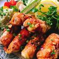 高野豆腐とチーズの鶏皮ロール