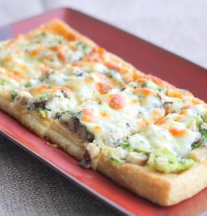 シラスと椎茸と大葉のお揚げピザ
