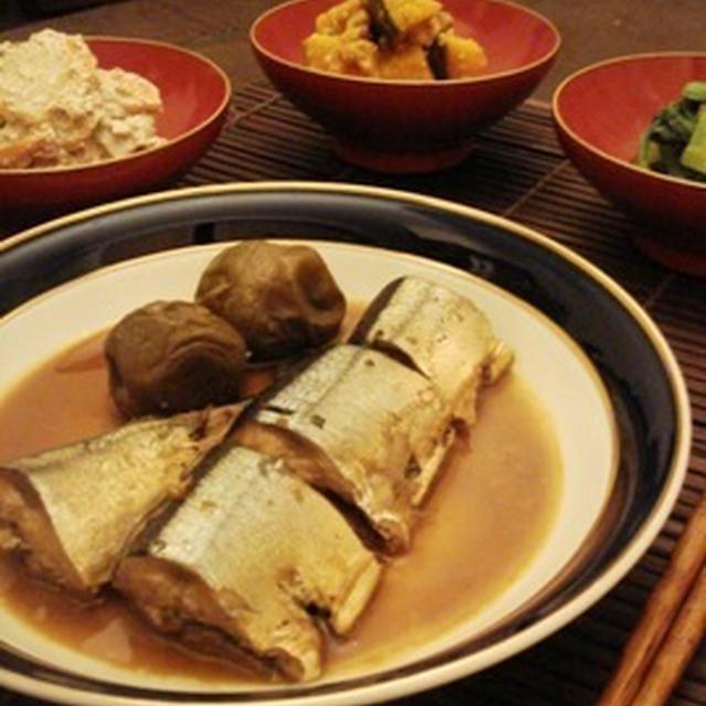 今宵は秋刀魚もほろ酔いに、秋刀魚の梅酒煮