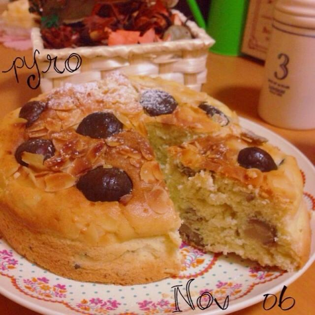 市販の甘栗で☆栗とアーモンドのふんわりケーキ♪
