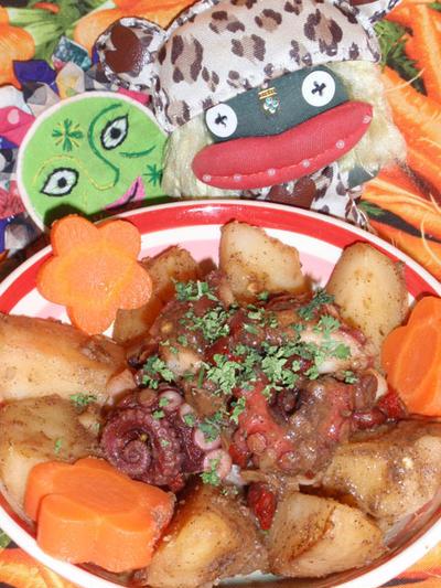 タコとジャガ芋のアンチョビ風味&コロコロ大根のコンソメ煮(お家カフェ)