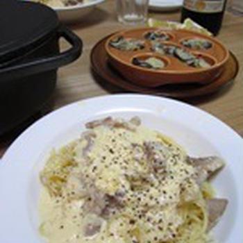 塩豚カルボナーラ